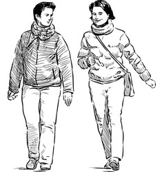 Cheerful pedestrians vector