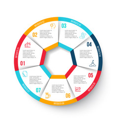 Circle infographic with 7 options vector