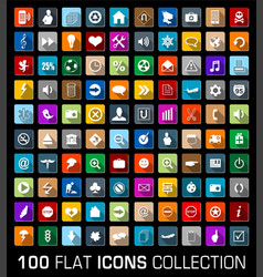colorful set 100 universal flat modern icons vector image
