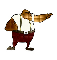 comic cartoon angry tough guy pointing vector image