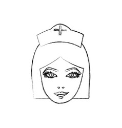 Contour face nurce icon image vector