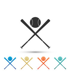 Crossed baseball bats and ball icon isolated vector