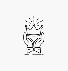Crown honor king market royal line icon isolated vector