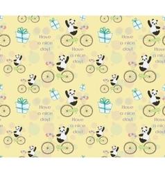 Cute baby Panda on bike vector
