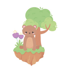Cute little bear sitting with flowers and tree vector