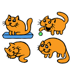 Cute orange cats emoticons set isolated vector