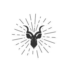 deer with sunburst background vector image
