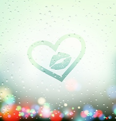 draw a heart with a kiss on the sweaty glass vector image