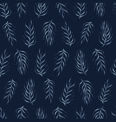 Falling leaves indigo pattern seamless vector