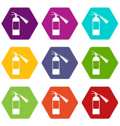 fire extinguisher icon set color hexahedron vector image