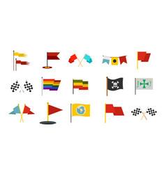 flag icon set flat style vector image