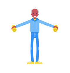 flat elderly man in sportsuit dumbbell lift vector image