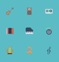 Flat icons rhythm motion tape lyre and other vector