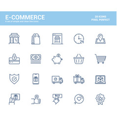 flat line icons design-e-commerce vector image