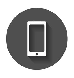 Flat smartphone icon phone with long shadow vector