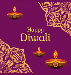 Greeting card for diwali festival with diwali vector