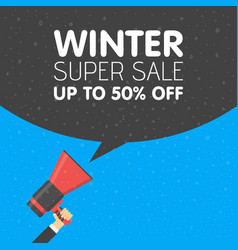 hand holding megaphone with winter sale vector image vector image
