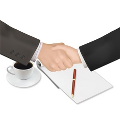 handshake with notepad and pen shut vector image