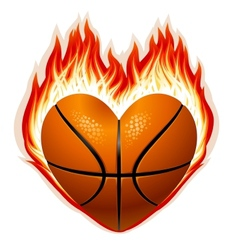Heart shaped basketball on fire vector