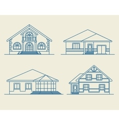 Houses linear 3 vector image