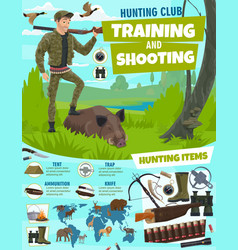 hunting sport club poster training in shooting vector image