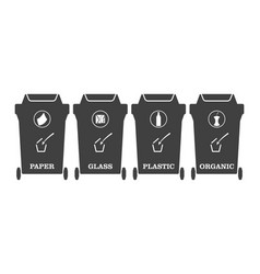 icons of garbage containers with the binding of a vector image