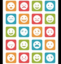 Icons set 20 emotional smiles in square vector