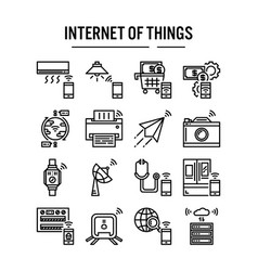 internet things icon in outline design for web vector image