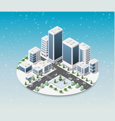isometric city with houses vector image