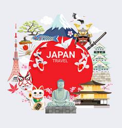 Japan famous landmarks travel background vector
