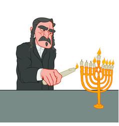 Jewish old man celebrating hanukkah vector
