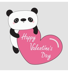 Kawaii panda baby bear Happy Valentines Day text vector image
