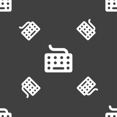 keyboard icon sign Seamless pattern on a gray vector image
