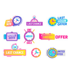 Last chance limited offer icons set isolated on vector