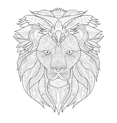 Lion Coloring for adults vector