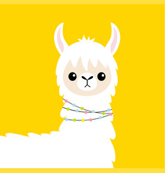 Llama alpaca head baby face cute cartoon funny vector