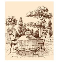 lounge restaurant or house terrace in garden vector image