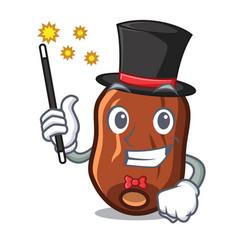 Magician dates fruit mascot cartoon vector