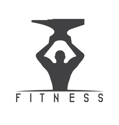 Man fitness silhouette character with anvil vector