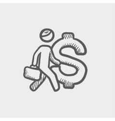 Man with big dollar symbol sketch icon vector