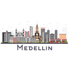 Medellin colombia city skyline with gray buildings vector