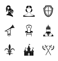 Medieval armor icons set simple style vector