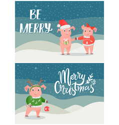 merry christmas postcard pigs on snowy landscape vector image
