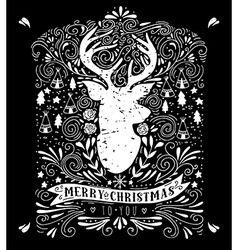 Merry Christmas poster with reindeer vector