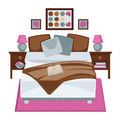 Messy bedroom with opened book vector