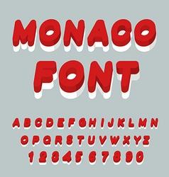 Monaco font Monaco flag on letters National vector