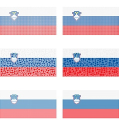 Mosaic Slovenia flag set vector