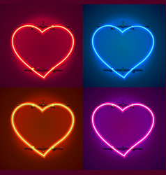 neon frame sign in the shape of a heart vector image