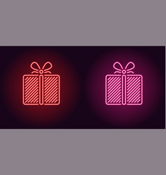 neon icon of red and pink gift box vector image