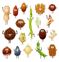 Nuts seeds and beans cartoon characters vector